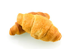 Two croissants. Isolated on white background stock photos
