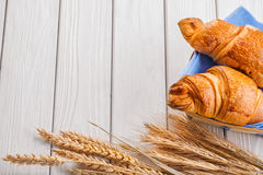 Two croissants and ears of wheat on old white Royalty Free Stock Photography