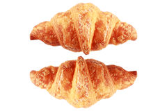 Two croissants isolated on white Royalty Free Stock Photo