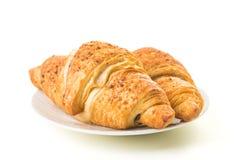 Two croissants on white stock photo