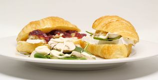 Two croissants ready for lunch Royalty Free Stock Images