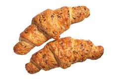 Two croissants with seeds Royalty Free Stock Images