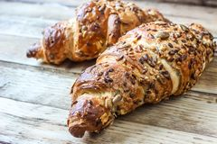 Two croissants with sesame seeds Stock Photo