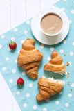 Two croissants traditional french pastry sweet Stock Images
