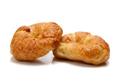 Two croissants on white Royalty Free Stock Photography