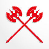 Two crossed ax. Vector illustration. Red and white image on a light background Stock Images