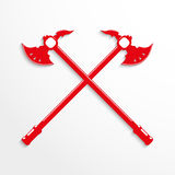 Two crossed ax. Vector illustration. Red and white image on a light background Stock Photos