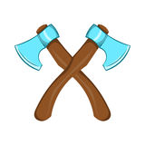 Two crossed axes icon, cartoon style. Two crossed axes icon in cartoon style on a white background Royalty Free Stock Photo