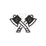 Two crossed axes illustration. Silhouette style. Textured lumberjack symbol. Simple design, letterpress effect. Isolated Stock Image