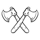 Two crossed axes-Vector drawn. Hand drawing of Two Crossed Axes isolated on white background. Black and White simple line Vector Illustration for Coloring Book Stock Photos