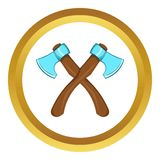 Two crossed axes vector icon, cartoon style. Two crossed axes vector icon in golden circle, cartoon style isolated on white background Royalty Free Stock Images