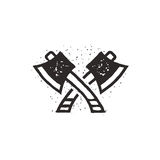Two crossed axes vector illustration. Silhouette style. Textured lumberjack symbol. Simple design, letterpress effect Royalty Free Stock Photo