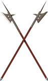 Two crossed battle halberds Stock Images