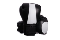 Two crossed black boxing mitts on a white background Royalty Free Stock Photography