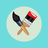 Two crossed brushes flat design Royalty Free Stock Photo