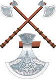 Two crossed Celtic ax Stock Photo
