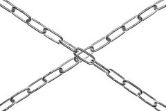 Two crossed chains. Isolated over white Stock Image