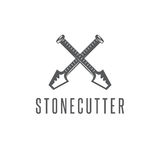 Two crossed chisels stonecutter vector design Stock Image