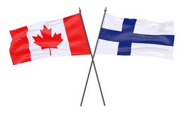 Two crossed flags. Canada and Finland, two crossed flags isolated on white background. 3d image Royalty Free Stock Photo