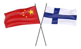 Two crossed flags. China and Finland, two crossed flags isolated on white background. 3d image Stock Photography