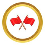 Two crossed flags of China vector icon Stock Image