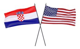 Two crossed flags. Croatia and USA, two crossed flags isolated on white background. 3d image Stock Photos