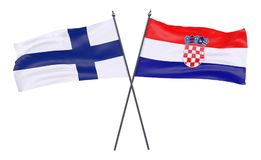 Two crossed flags. Finland and Croatia, two crossed flags isolated on white background. 3d image Royalty Free Stock Image