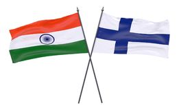 Two crossed flags. India and Finland, two crossed flags isolated on white background. 3d image Royalty Free Stock Image