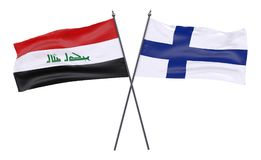 Two crossed flags. Iraq and Finland, two crossed flags isolated on white background. 3d image Royalty Free Stock Photos
