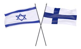 Two crossed flags. Israel and Finland, two crossed flags isolated on white background. 3d image Stock Images