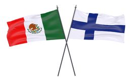 Two crossed flags. Mexico and Finland, two crossed flags isolated on white background. 3d image Royalty Free Stock Images