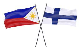 Two crossed flags. Philippines and Finland, two crossed flags isolated on white background. 3d image Royalty Free Stock Photography