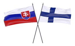 Two crossed flags. Slovakia and Finland, two crossed flags isolated on white background. 3d image Royalty Free Stock Photo