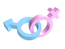 Two crossed gender sex signs Stock Images