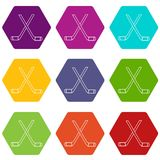 Two crossed hockey sticks icons set 9 vector. Two crossed hockey sticks icons 9 set coloful isolated on white for web Royalty Free Stock Photography