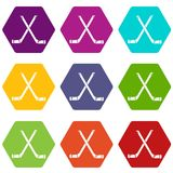 Two crossed hockey sticks icons set 9 vector. Two crossed hockey sticks icons 9 set coloful isolated on white for web Royalty Free Stock Image