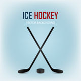 Two crossed hockey sticks and puck. Vector background. Stock Photography