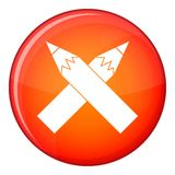 Two crossed pencils icon, flat style Royalty Free Stock Photography
