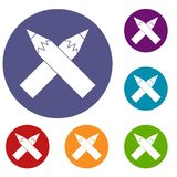 Two crossed pencils icons set Stock Image