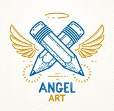 Two crossed pencils with wings and nimbus, vector simple trendy logo or icon for designer or studio, creative spirit, angel design. Linear style royalty free illustration
