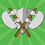 Two crossed poleaxes and shield Royalty Free Stock Photos