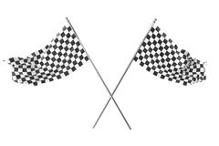 Two crossed race checkered flags, finishing checkered flag, 3d rendering isolated on white Royalty Free Stock Images