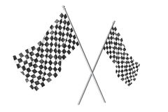 Two crossed race checkered flags, finishing checkered flag, 3d rendering isolated on white Stock Photo