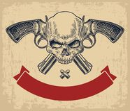 Two crossed revolver with bullets, skull and ribbon. Royalty Free Stock Image