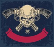 Free Two Crossed Revolver With Bullets, Skull And Ribbon. Royalty Free Stock Photography - 119654837