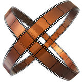 Two crossed rings of films Stock Image