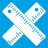 Two crossed rulers icon white. Isolated on blue background vector illustration Royalty Free Stock Photography