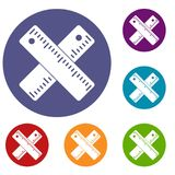 Two crossed rulers icons set. In flat circle reb, blue and green color for web Royalty Free Stock Images