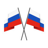 Two crossed russian flag. Two crossed Russian national flag on  white background. Waving Flag in flat style Royalty Free Stock Photos