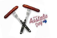 Two crossed sausages on forks & x28;Australia Day& x29; royalty free stock photo